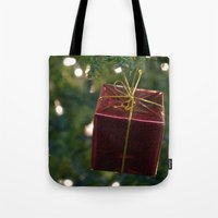 gift card Tote Bags featuring Christmas Gift by Selene D