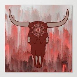 Red Mandala Steer Skull Canvas Print
