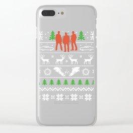 Ugly Christmas Tree Muscle Car Reindeer Clear iPhone Case