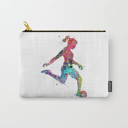 Girl Soccer Player Watercolor Print Sports Print Soccer Player Poster Carry-All Pouch