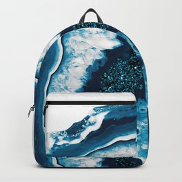 Blue White Agate with Blue Glitter #1 #gem #decor #art #society6 Backpack