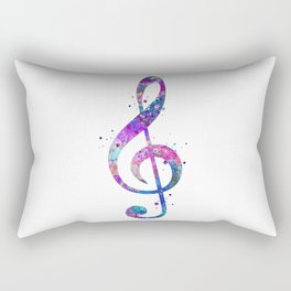 Treble Clef Sign Watercolor Print Blue Purple Wall Art Poster Music Poster Rectangular Pillow