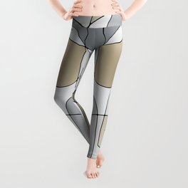 ABSTRACT CURVES #1 (Grays & Beiges) Leggings