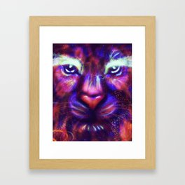 Fantasy lion face made of stars and colorful clouds Framed Art Print