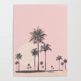 Tropical Sunset In Peach Coral Pastel Colors Poster
