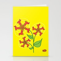 daschund Stationery Cards featuring Doxie Flower by WhyitsmeDesign