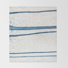 Parallel Universe [horizontal]: a pretty, minimal, abstract piece in lines of vibrant blue and white Throw Blanket