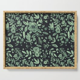 Hand Drawn Flower Pattern 1 Serving Tray