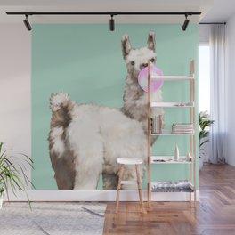 Baby Llama Blowing Bubble Gum Wall Mural