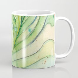 Green Watercolor Peacock Feather and Bubbles Coffee Mug
