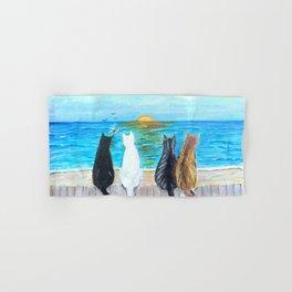 Cat Beach Sunset Hand & Bath Towel