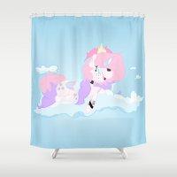 bubblegum Shower Curtains featuring bubblegum by pokegirl93