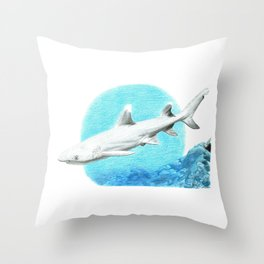 White Tipped Shark Throw Pillow