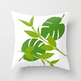 Simply Tropical Leaves with White background Throw Pillow