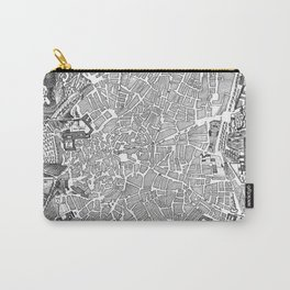 Vintage Map of Madrid Spain (1702) BW Carry-All Pouch