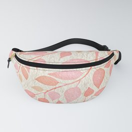 Coral Pink Leaves On Gold Fanny Pack