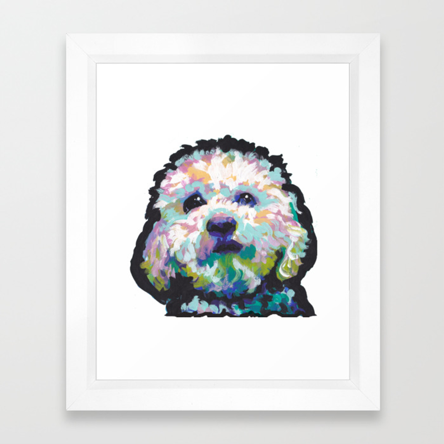 Maltese Poodle Maltipoo Dog Portrait Pop Art Painting By Lea Framed Art Print By Wilddogs Society6