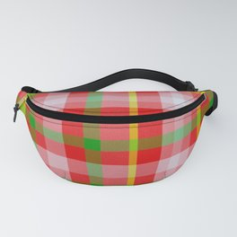 Red Yellow Pink and Green Tartan Fanny Pack