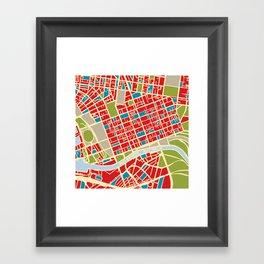 Vintage Style Map of Melbourne Framed Art Print
