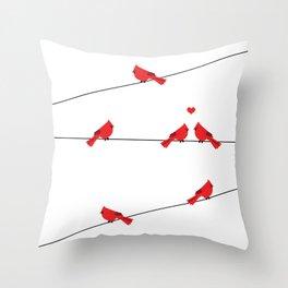 Red birds - winter talk Throw Pillow