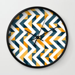 Chevron Oranges and Ink - Geometric Pattern Wall Clock