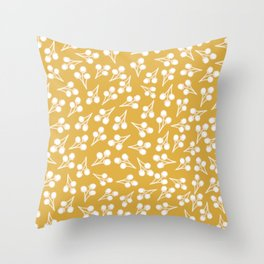 Cotton Stems Botanical Pattern in White and Mustard Yellow Throw Pillow
