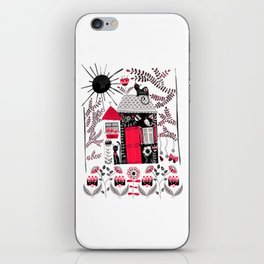 Folk Art Cottage and Cats iPhone Skin
