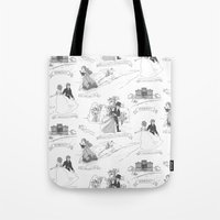 pride and prejudice Tote Bags featuring Pride and Prejudice Toile by Aimee Steinberger