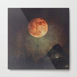 Moon over Dark Mountains Metal Print