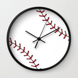 Softball Baseball design red laces Wall Clock