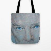 benedict cumberbatch Tote Bags featuring Cumberbatch by Artfully Alexa