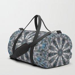 Turquoise on black and white mandala Duffle Bag