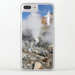 Hot springs, fumarole in crater active Mutnovsky Volcano on Kamchatka Peninsula Clear iPhone Case