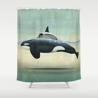 car Shower Curtains featuring killer car by Vin Zzep
