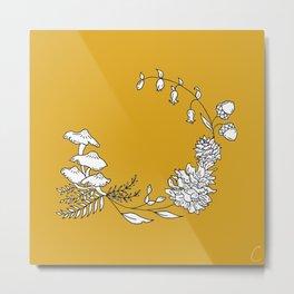 Autumnal Wreath Illustration Metal Print