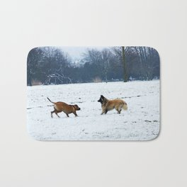 Lets play - Dogs in the snow Bath Mat