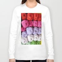knitting Long Sleeve T-shirts featuring Knitting Yarn by Rosie Brown