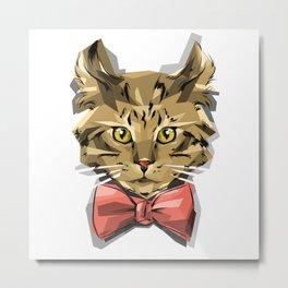 Bow Kitty Metal Print