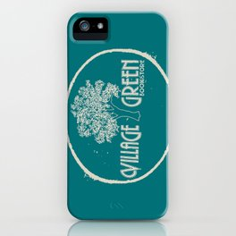 Village Green Bookstore Tan on Green iPhone Case