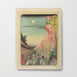 Utagawa Yoshitaki - 100 Views of Naniwa: Cherry Blossoms in the Evening at Kuken (1880s) Metal Print
