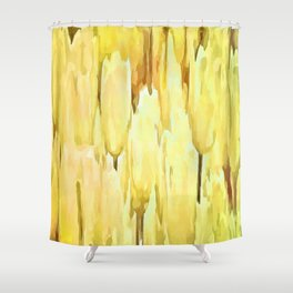 Pale Yellow Tulips Abstract Floral Pattern Shower Curtain