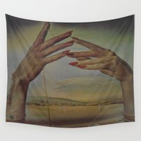 salvador dali Wall Tapestries featuring PORTRAIT OF A PASSIONATE WOMAN  (The Hands)  by Salvador Dali by ....