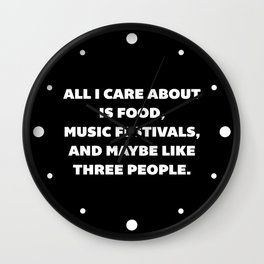 Care About Food Funny Quote Wall Clock