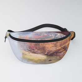 Waterfall in an autumn day in the italian alps Fanny Pack