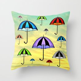 Colorful umbrellas flying in the sky Throw Pillow