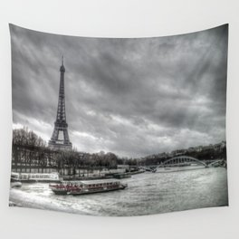 The Eiffel Tower and the Seine - Paris cityscape - hdr Wall Tapestry
