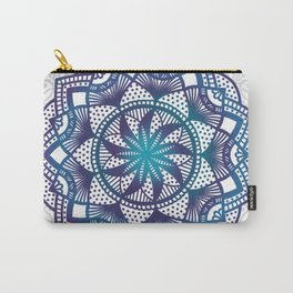 Purple and teal mandala on grey design Carry-All Pouch