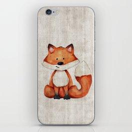 Little Fox, Baby Fox, Baby Animals, Forest Critters, Woodland Animals, Nursery Art iPhone Skin