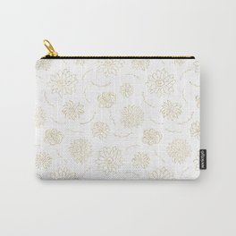 Blush chic elegant white faux gold glitter floral Carry-All Pouch