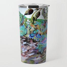 New Caledonia Lizard Art Deco Style Travel Mug